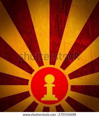 pawn chess figure on sun burst banner - stock photo