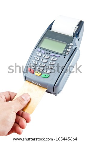 Payment machine with clipping path - stock photo