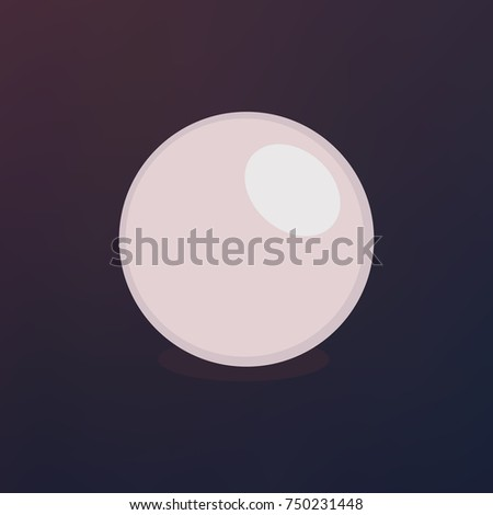 pearl isolated on white background. Shiny oyster pearl ball for luxury