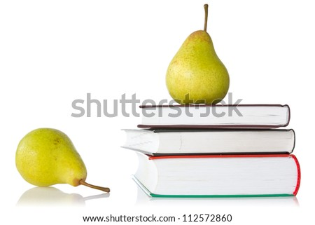 pears and books over a white background