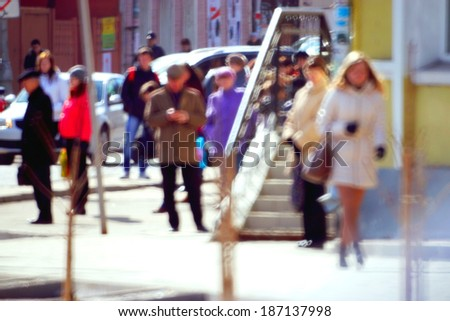 pedestrians on the street blurred background bokeh