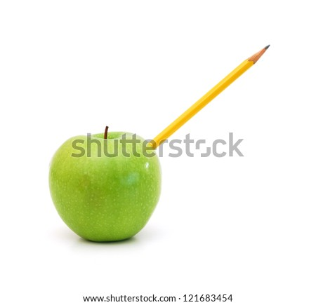 pencil to did into the green apple.