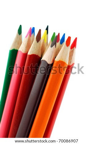 pencils isolated on white background close up