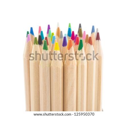 pencils over white - stock photo