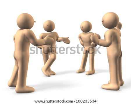 4 people are eager to discuss. Two people are excited, a person has been arbitration.This is a computer generated image,on white background. - stock photo