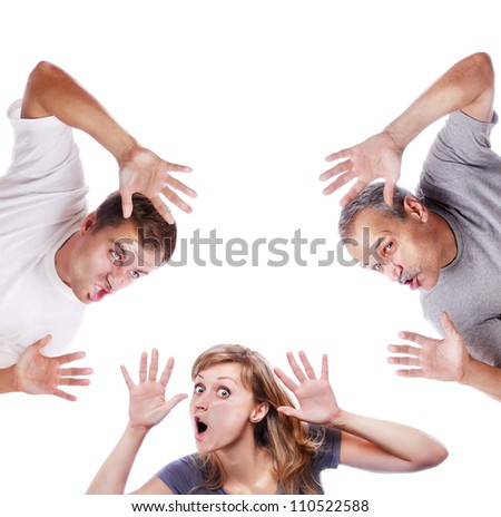 People crushed on transparent glass - stock photo