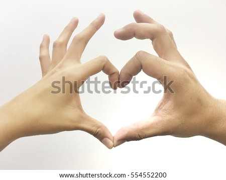2 people make heart sign by their hands isolated on white background