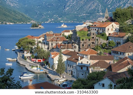 Perast village and small islands of Kotor Bay, Montenegro - stock photo