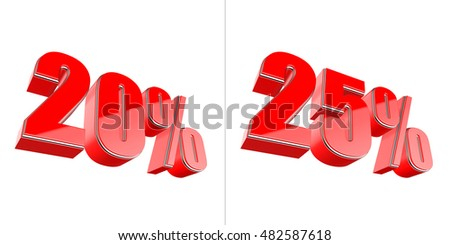 20 percent and 25 percent red glossy symbol isolated on white 3D render