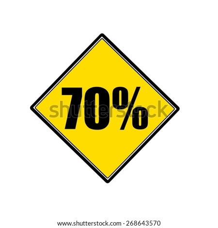70 percent black stamp text on yellow