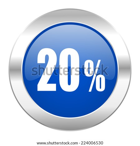 20 percent blue circle chrome web icon isolated