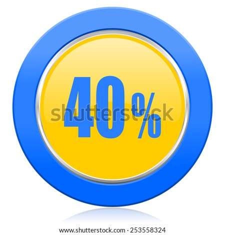 40 percent blue yellow icon sale sign  - stock photo