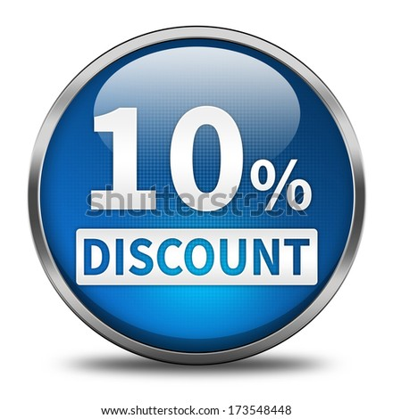 10 percent button isolated - stock photo