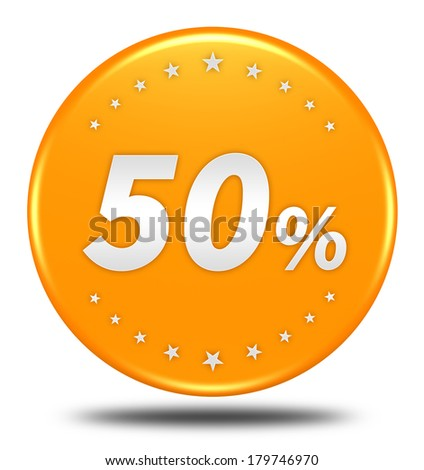 50 percent button isolated  - stock photo