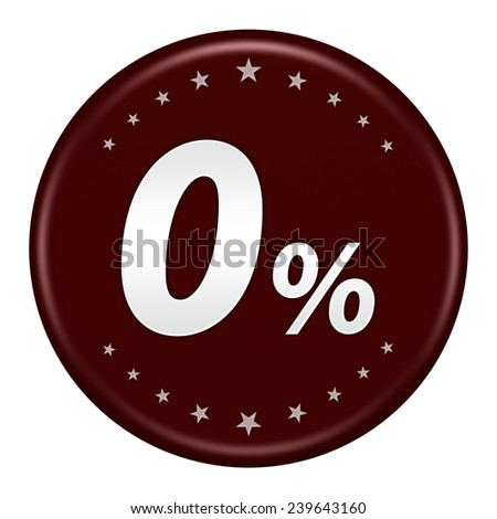 0 percent button isolated - stock photo