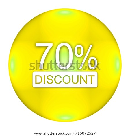 70 percent button isolated, 3d illustration