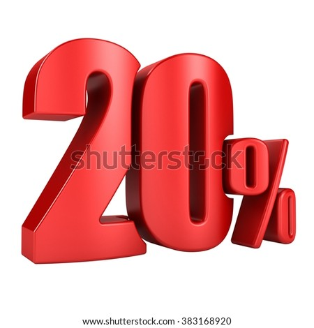 20 percent 3D in red letters on a white background - stock photo