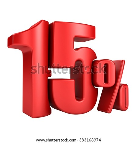 15 percent 3D in red letters on a white background - stock photo