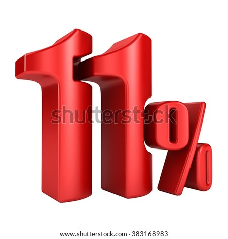 11 percent 3D in red letters on a white background