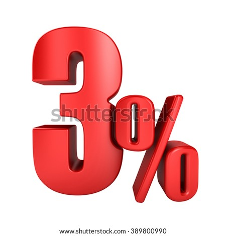 3 percent 3D in red letters on a white background