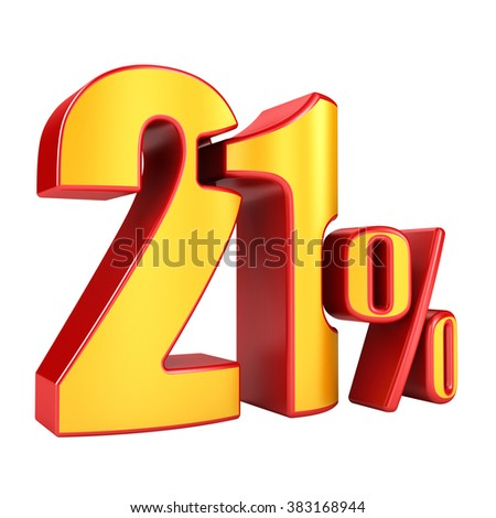 21 percent 3D letters on a white background - stock photo