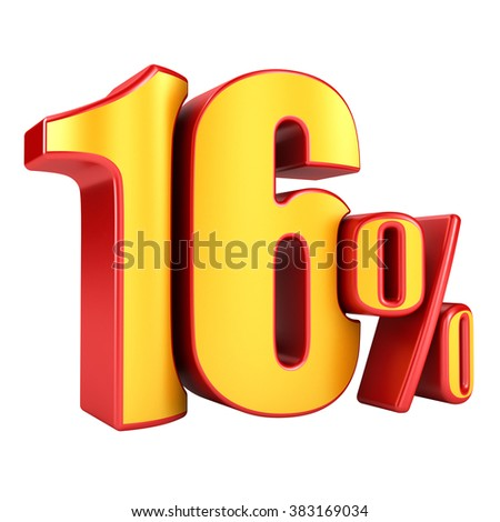 16 percent 3D letters on a white background