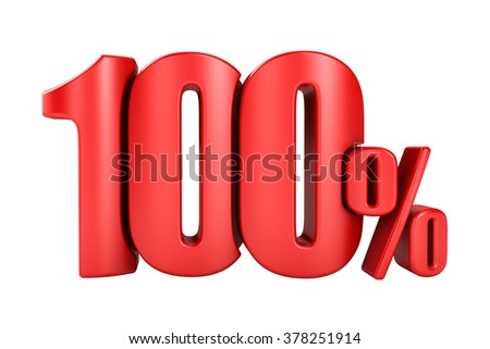 100 percent 3D render in red letters on a white background - stock photo