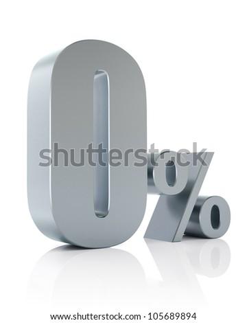 0 percent, 3D Rendering - stock photo