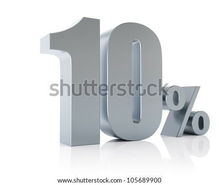 10 percent, 3D Rendering - stock photo