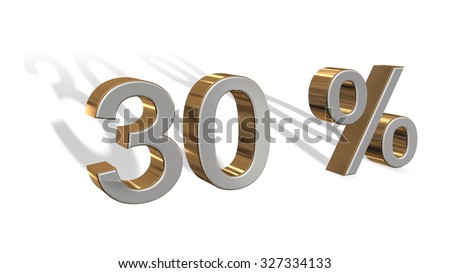 30 percent  - 3D  text with a long shadow on white background