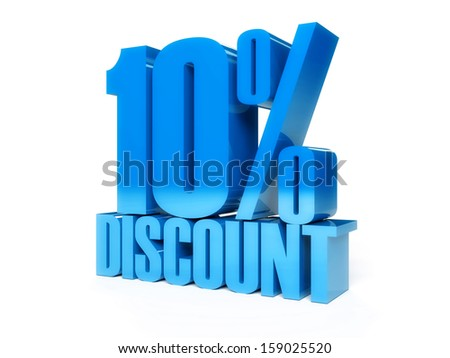 10 percent discount. Blue shiny text. Concept 3D illustration. - stock photo