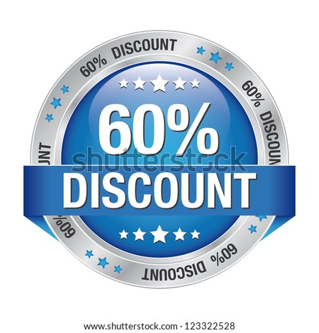 60 percent discount blue silver button isolated - stock photo