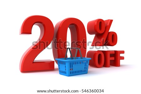 20 percent discount (3d rendering)