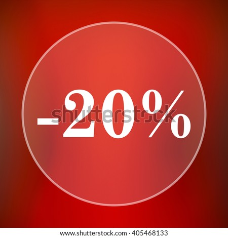 20 percent discount icon. Internet button on red background.