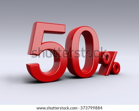 50 percent discount on light background. Sale, percentages, special offer. 3D Numbers in red.
