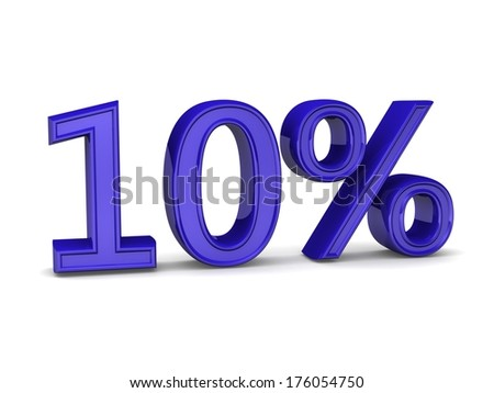 10 percent discount symbol blue color with reflection isolated white background.