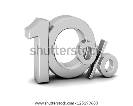 10 percent discount symbol SILVER color with reflection isolated white background. 3d illustration and business concept