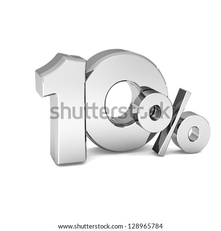 10 percent discount symbol SILVER color with reflection isolated white background. 3d illustration and business concept - stock photo