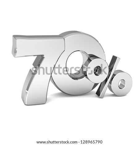 70 percent discount symbol SILVER color with reflection isolated white background. 3d illustration and business concept - stock photo