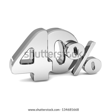 40 percent discount symbol SILVER color with reflection isolated white background. 3d illustration and business concept - stock photo