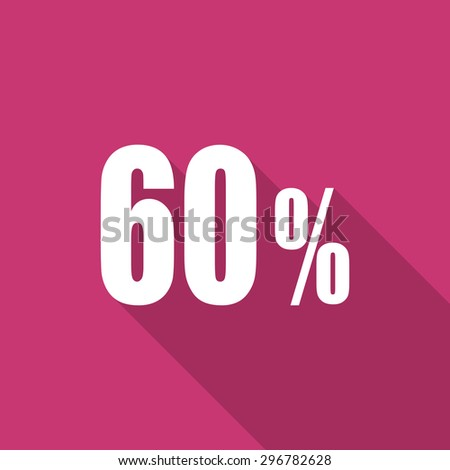 60 percent flat design modern icon with long shadow for web and mobile app - stock photo