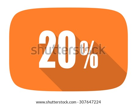 20 percent flat design modern icon with long shadow for web and mobile app