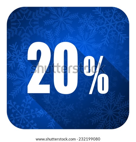 20 percent flat icon, christmas button, sale sign  - stock photo