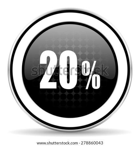 20 percent icon, black chrome button, sale sign