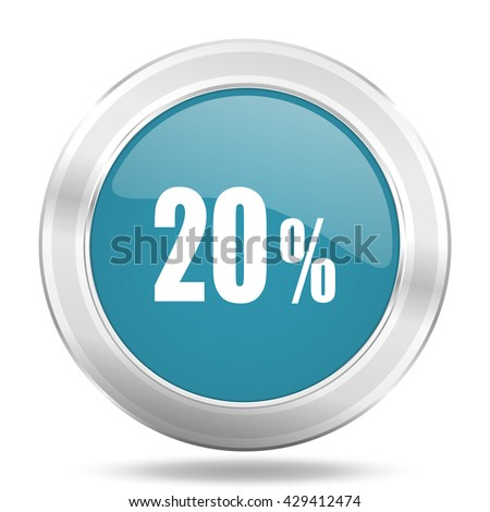 20 percent icon, blue round metallic glossy button, web and mobile app design illustration