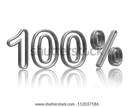 100 percent in 3d isolated silver numbers with reflection
