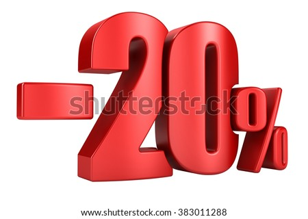 -20 percent in red letters on a white background. 3d render. - stock photo