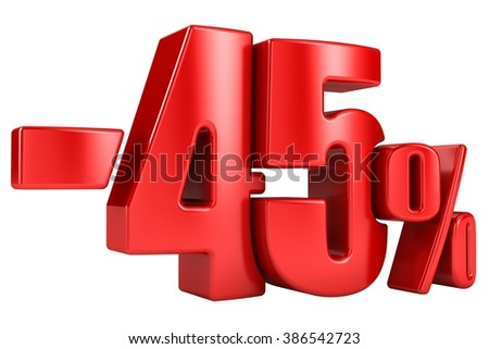 -45 percent in red letters on a white background. 3d render.