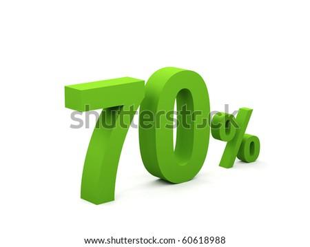 70 percent isolated on white background. 70% - stock photo
