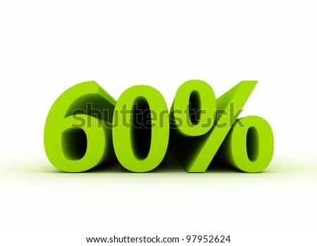 60 percent isolated on white background - stock photo